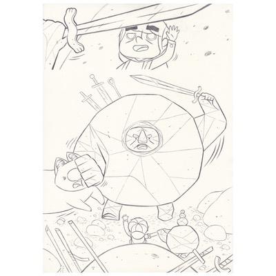Planche originale + crayonné - page 64 - Timo l'aventurier