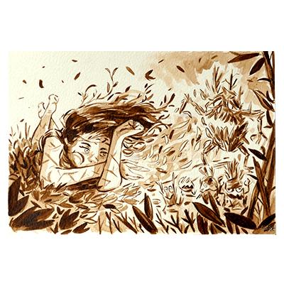 Illustration originale - Dans les herbes