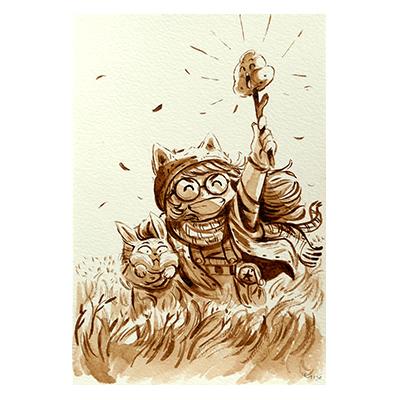 Illustration originale - Le Lapin et la Fillette
