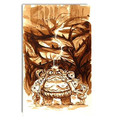 Illustration originale - Monstres et la Cascade
