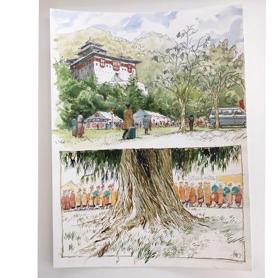 Original drawing - Temple bouddhiste et arbre