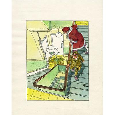 Illustration originale Léonard De Vinci - Moucherot et Léonard