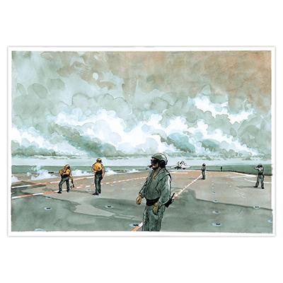 Illustration originale Titwane - Le Charles de Gaulle - Catapultage
