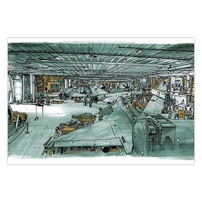 Illustration originale Titwane - Le Charles de Gaulle - Hangar