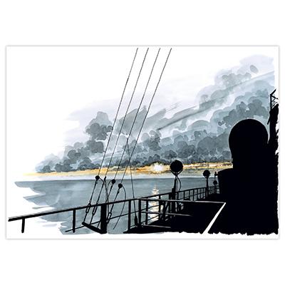 Illustration originale Titwane - Le Charles de Gaulle - Coucher de soleil
