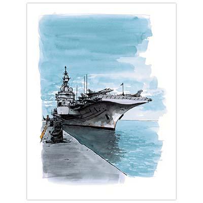 Illustration originale Titwane - Le Charles de Gaulle - À quai