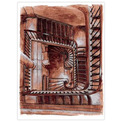 Illustration originale Titwane - Brigade Criminelle - Escalier 36