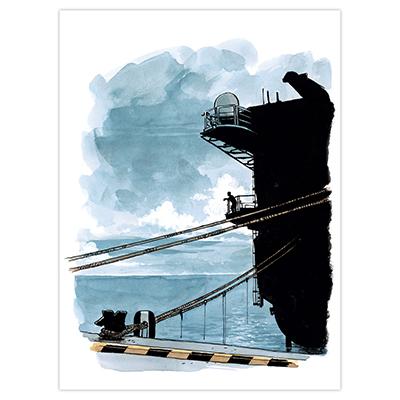 Illustration originale Titwane - Le Charles de Gaulle - Silhouette vue du quai