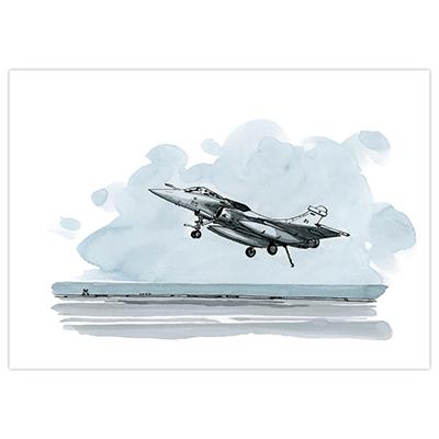 Illustration originale Titwane - Le Charles de Gaulle - Rafale