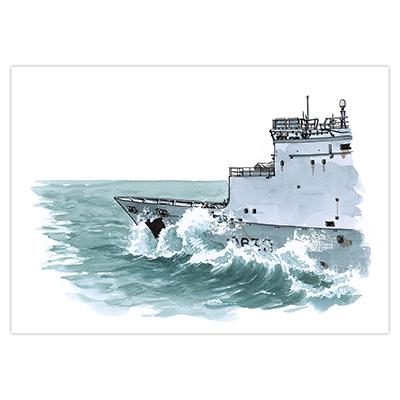 Illustration originale Titwane - Le Charles de Gaulle - Proue de la Marne