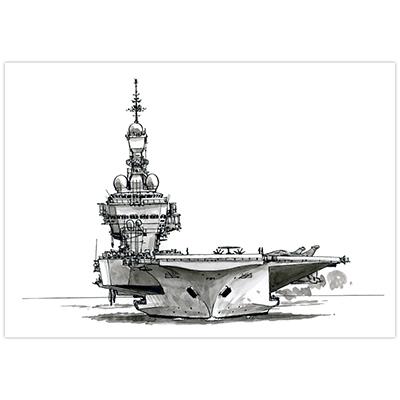 Illustration originale Titwane - Le Charles de Gaulle - Porte-avion de face