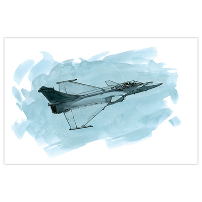 Illustration originale Titwane - Le Charles de Gaulle - Rafale en vol